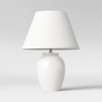 Turned Ceramic Table Lamp White - Threshold™