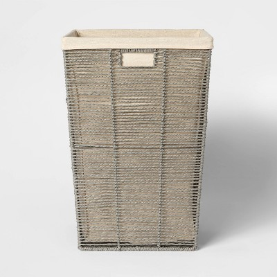 Square Twisted Paper Rope Laundry Hamper Gray - Threshold™