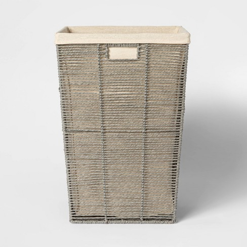 Square Twisted Paper Rope Laundry Hamper Gray - Threshold™ - image 1 of 3