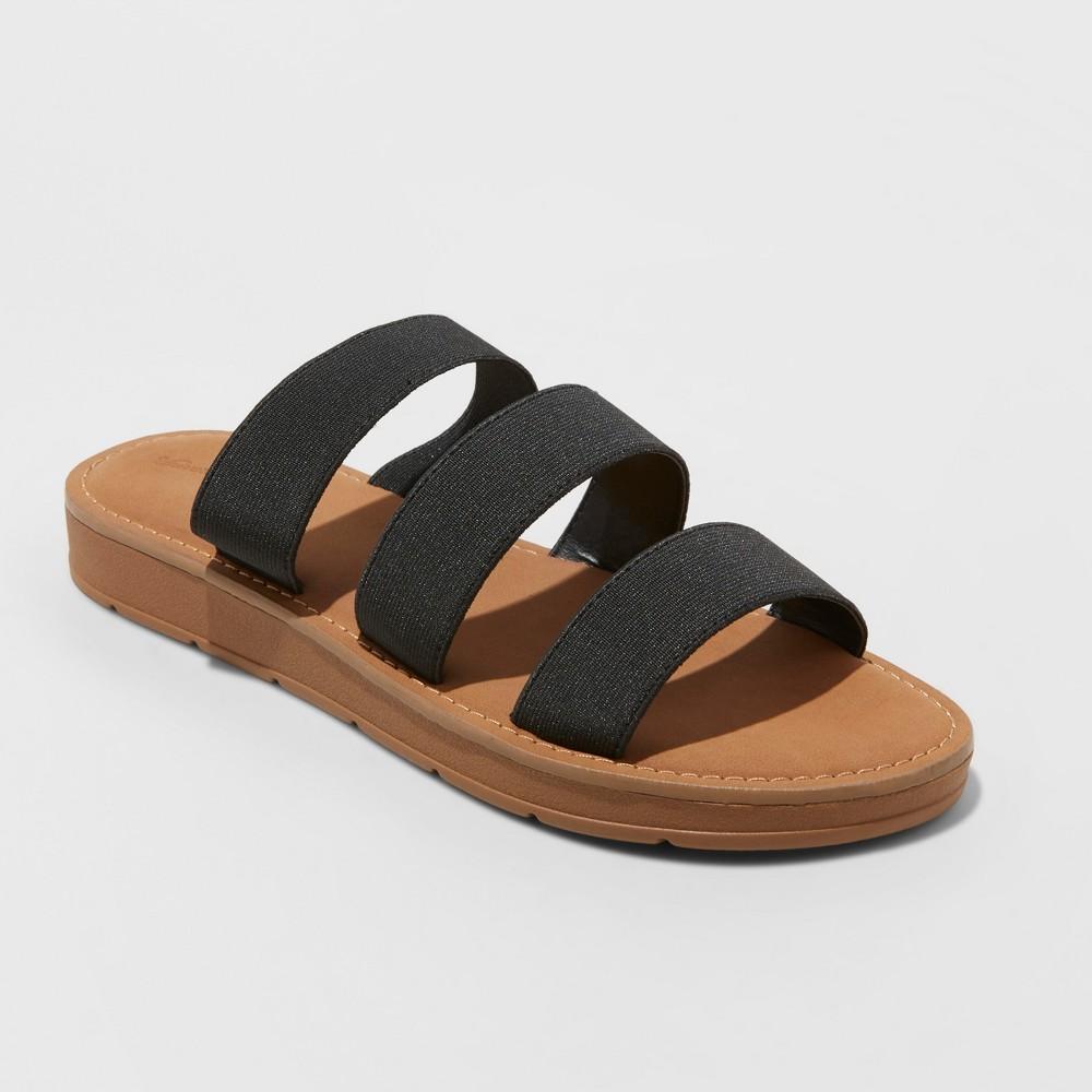 Women's Eden Three Strap Elastic Slide Sandals - Universal Thread Black 7