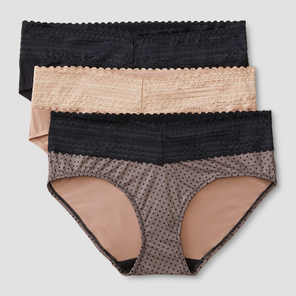 Simply Perfect by Warner's No Muffin Top Women's Micro Hipster with Lace 5609TA3 Toasted Almond Black M, Lace Dot Print/Toasted Almond/Black