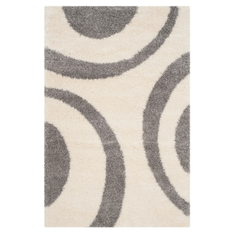 Ivory Gray Shapes Loomed Accent Rug 4 X6 Safavieh