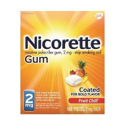 Nicorette 2mg Stop Smoking Aid Nicotine Gum - Fruit Chill - 160ct