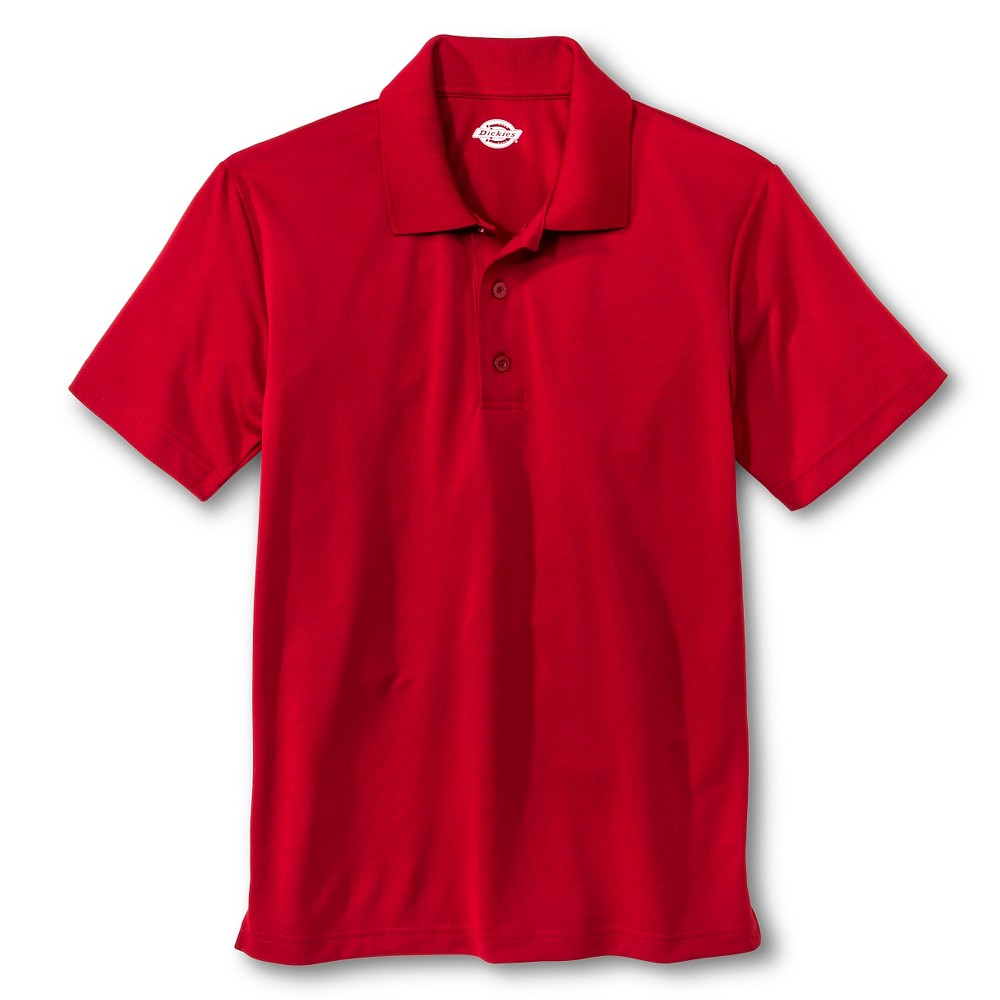 Dickies Young Men's Performance Uniform Polo Shirt - Red XL, English Red