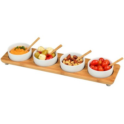 Picnic at Ascot Bamboo Entertaining Set with 4 Ceramic Bowls in Line