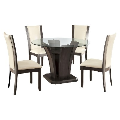 5pc Grifendra Beveled Glass Round Dining Set Gray - HOMES: Inside + Out