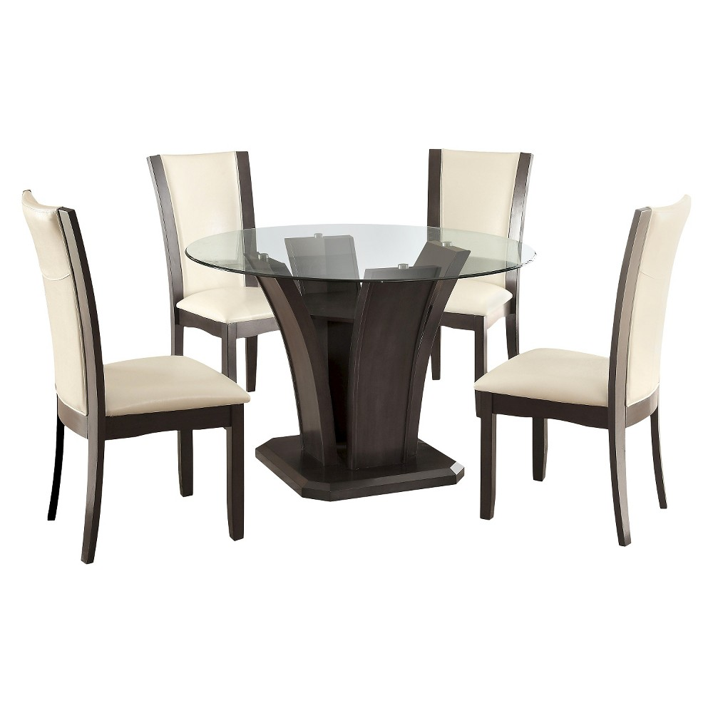 Image of 5pc Grifendra Beveled Glass Round Dining Set Gray - ioHOMES
