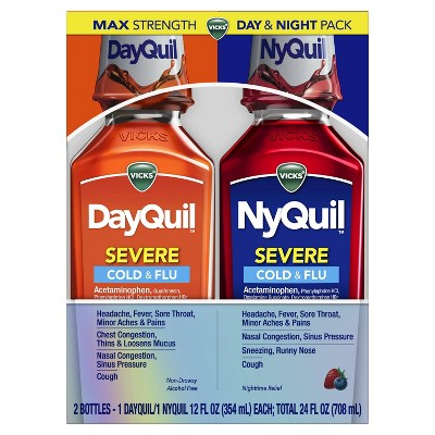 Vicks DayQuil and NyQuil Severe Cold & Flu Relief Liquid - 12 fl oz/2pk