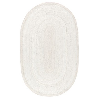 nuLOOM Hand Woven Rigo Jute Accent Rug - White (2' 3  x 4' Oval)