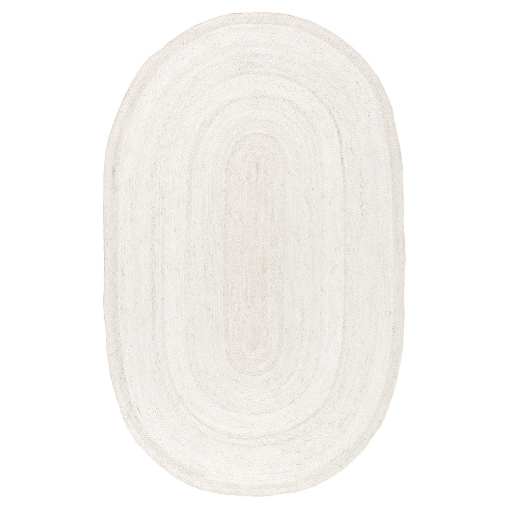 "Image of ""2'3""""x4' Oval Woven Rigo Jute Accent Rug Off White - nuLOOM"""