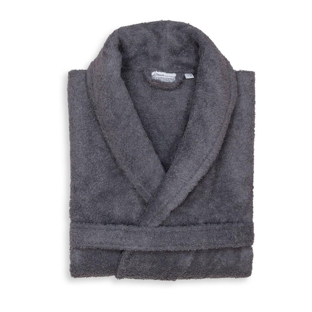 Terry Cloth Solid Bathrobe Gray Linum Home Textiles