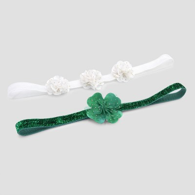 Baby Girls' 2pk Headwraps - Just One You® made by carter's Green/White One Size