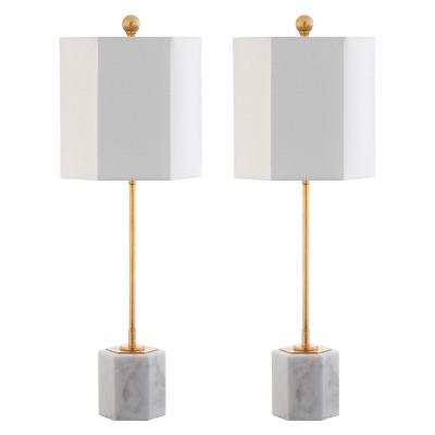 Magdalene Marble Table Lamp White/Gold 10 x10  (Set of 2)(Includes Energy Efficient Light Bulb)- Safavieh