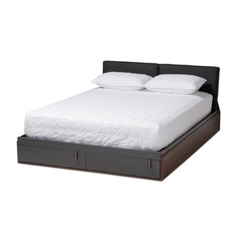 Queen Rikke Two Tone Wood Platform, Queen Platform Bed Frame With Storage White