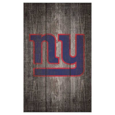 NFL Fan Creations Gray Distressed Wood Logo 11x19 in. Sign