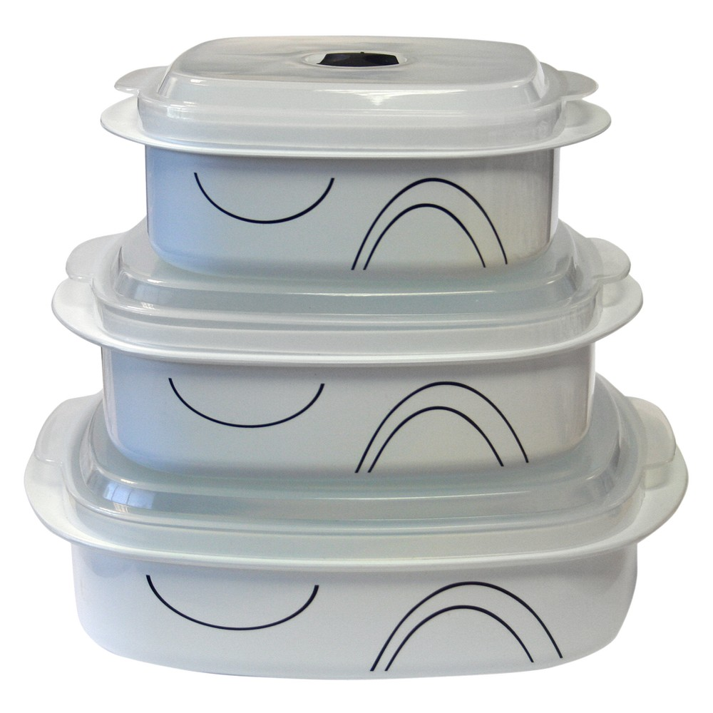 Image of Corelle Coordinates Microwave Cookware Set of 6 - Simple Lines