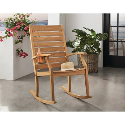 Logan Teak Patio Rocking Chair with Cup Holder - Light Brown - Cambridge Casual
