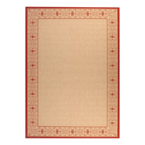 Antibes Border Rectangle 8 X 11 Patio Rug Natural Red