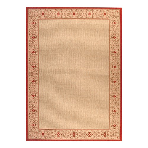 8'X11' Rectangle Antibes Border Patio Rug Natural/Red - Safavieh, Size: 8' X 11'