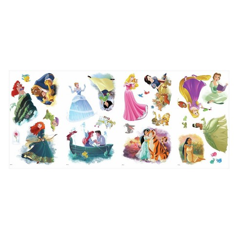 NEW BEAUTIFUL DISNEY PRINCESS LARGE SHEET OF 90 STICKERS HOME SCHOOL