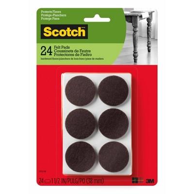 """Scotch 1.5"""" 24pk Felt Pads Brown"""
