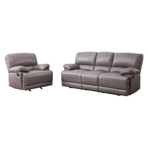 2pc Renne Top Grain Leather Reclining Sofa & Armchair Set Gray - Abbyson  Living