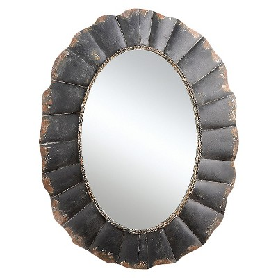 """23.5"""" x 31"""" Oval Mirror with Scalloped Metal Frame Distressed Black - 3R Studios"""