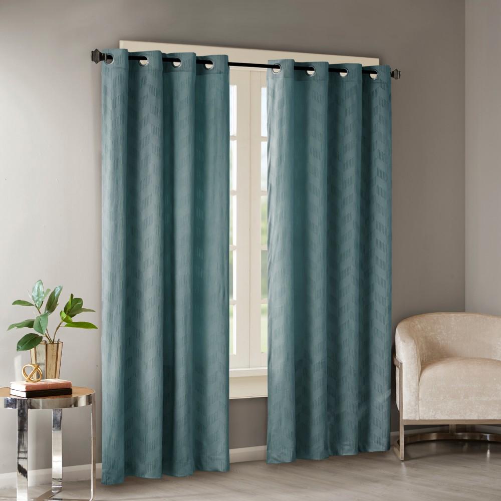 Revrie Embossed Poly Velvet Window Panel Teal (Blue) 50x84