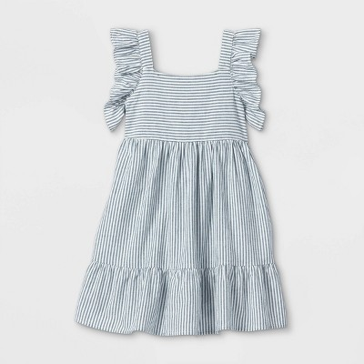 Girls' Tiered Woven Flutter Sleeve Dress - Cat & Jack™ Blue