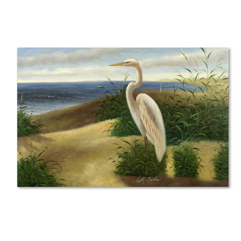 "Trademark Fine Art 16"" x 24"" Victor Giton 'One Heron At The Beach' Canvas Art - image 1 of 3"