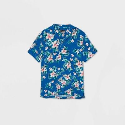 Men's Floral Print Short Sleeve Challis Button-Down Shirt - Original Use™ Blue