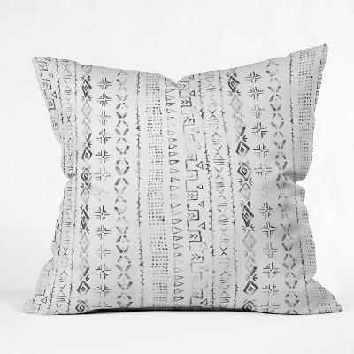 "16""x16"" Schatzi Brown Modern Mudcloth Snow Throw Pillow Black/White - Deny Designs"