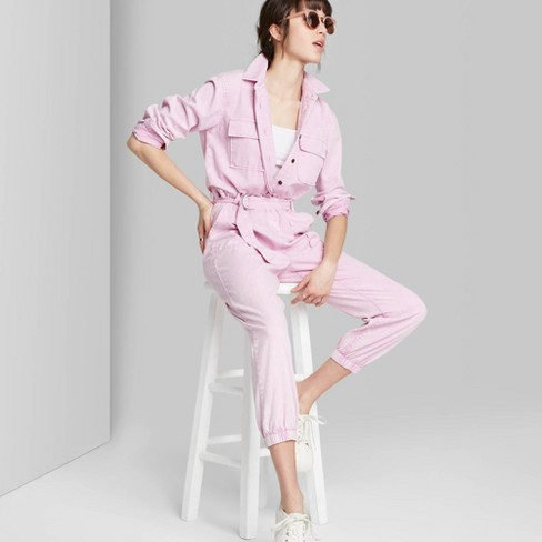 Women's Long Sleeve Collared Neck Belted Utility Jumpsuit - Wild Fable™ Lavender L - image 1 of 3