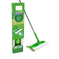 Swiffer Sweeper Dry + Wet All Purpose Floor Mopping and Cleaning Starter Kit with Heavy Duty Cloths - Includes 1 Mop - 10 Refills