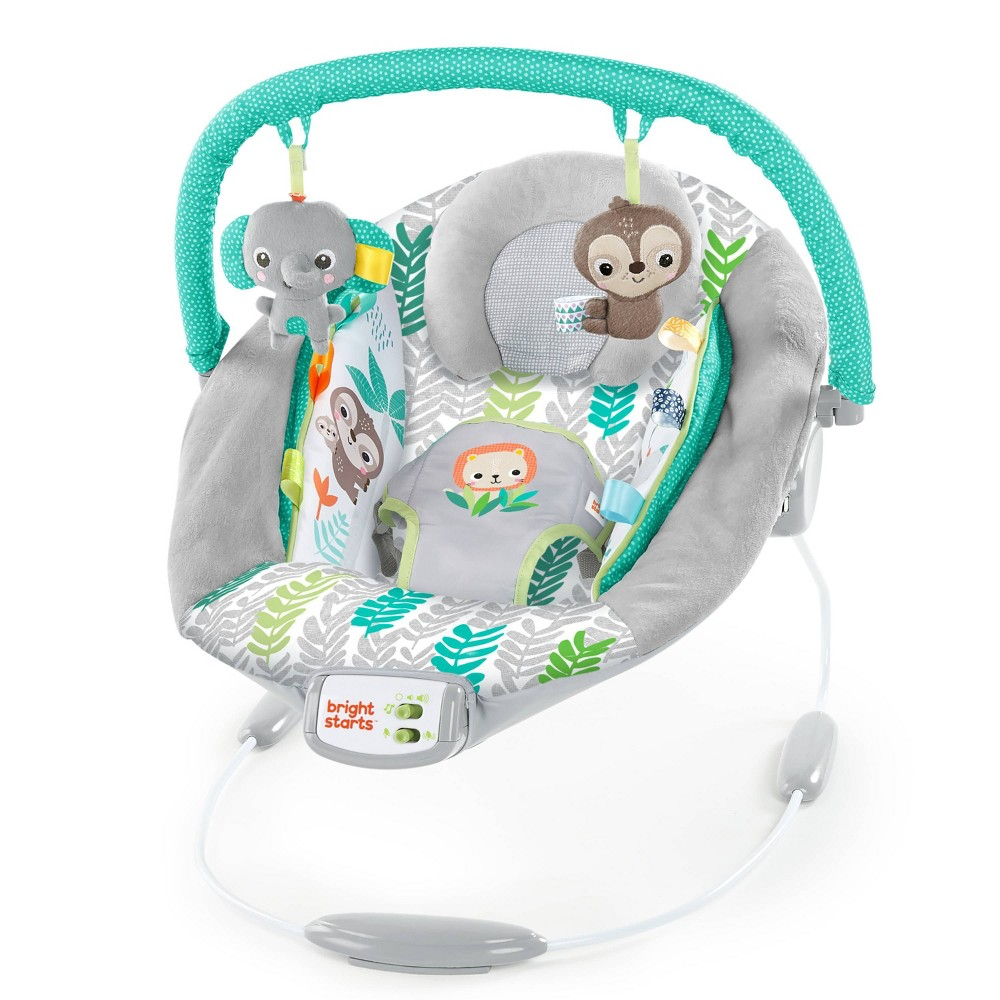 Image of Bright Starts Cradling Bouncer Seat with Vibration and Melodies - Jungle Vines