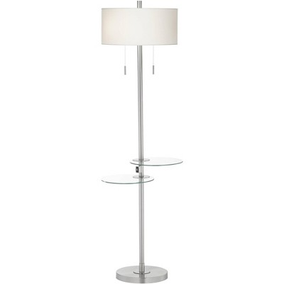 Possini Euro Design Modern Floor Lamp with Dual Tables Swivel Glass USB Port Brushed Nickel White Drum Shade for Living Room