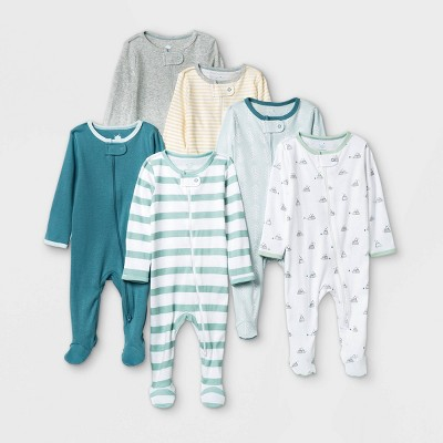 Baby Boys' 6pk Sleep N' Play - Cloud Island™ Green Newborn