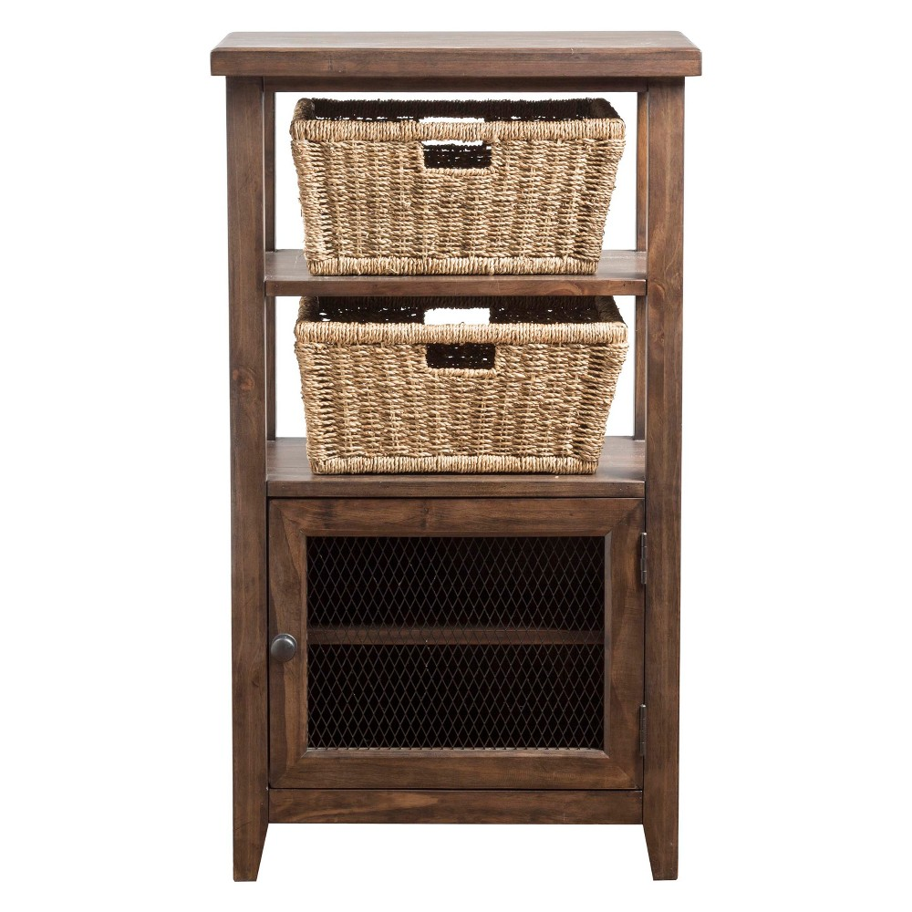 Tuscan Retreat Basket Stand with Wire Door and Two (2) Baskets Mocha - Hillsdale Furniture, Brown