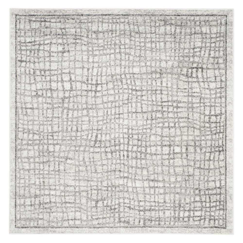10'X10' Crosshatch Square Area Rug Silver/Ivory - Safavieh, White Silver