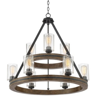 """Franklin Iron Works Gray Wood Large Wagon Wheel Chandelier 32"""" Wide 9-Light Farmhouse Rustic Clear Bubble Glass Dining Room House"""
