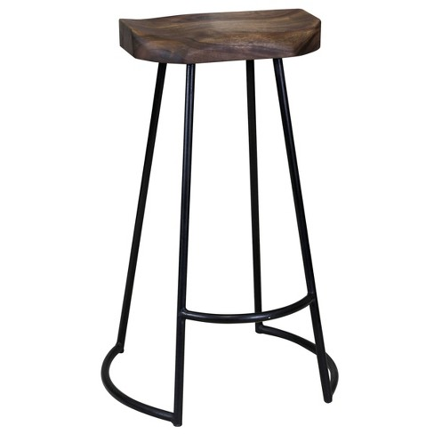 Gavin Sculpted Bar Stool Dark Brown Black Stylecraft