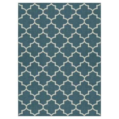 7'x10' Quatrefoil Design Area Rug Blue - Threshold™ - image 1 of 3