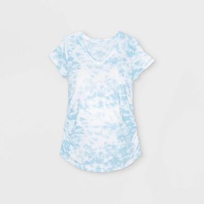 Maternity Tie-Dye Short Sleeve V-Neck Side Shirred T-Shirt - Isabel Maternity by Ingrid & Isabel™ Blue XXL