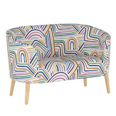Curved Settee Rainbow Strokes Ochre - Skyline Furniture
