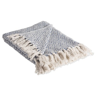 Fields Of Diamond Throw Blanket French Blue - Design Imports