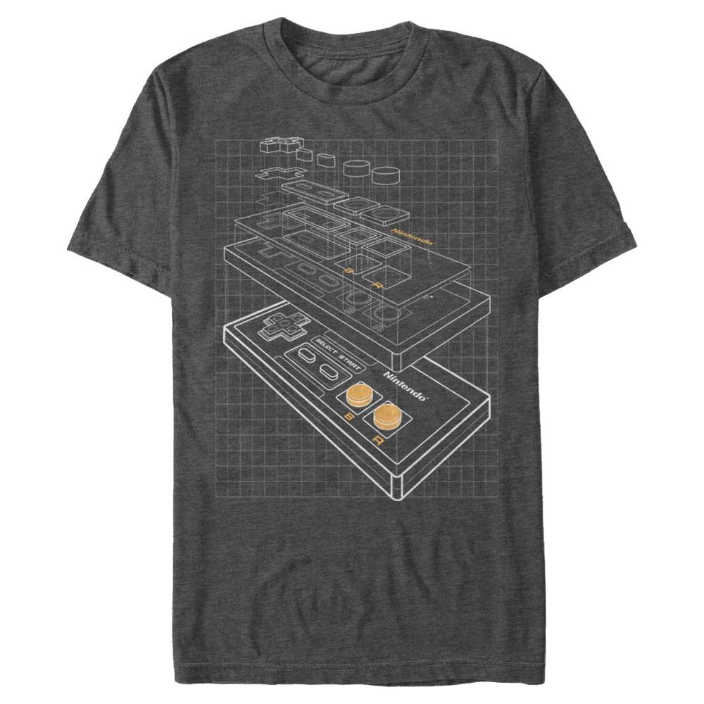 Men's Big & Tall Nintendo Controller T-Shirt X Large Tall, Size: XL Tall, Gray