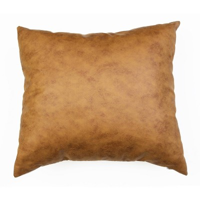 """20""""x20"""" Oversize Pele Faux Leather Square Throw Pillow Brown - Décor Therapy"""