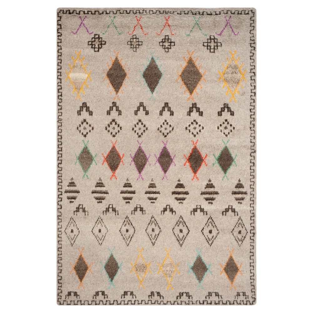 Natural/Multicolor Abstract Knotted Area Rug - (6'X9') - Safavieh, White