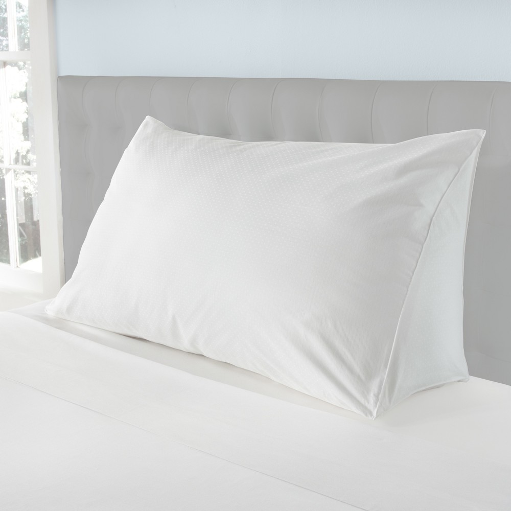 Image of Damask Dot Reading Wedge Pillow Cover White - Downlite