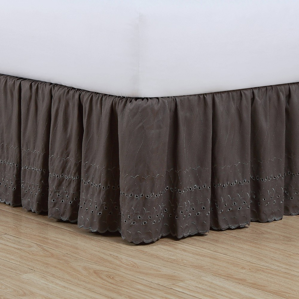Image of Fresh Ideas California King Ruffled Eyelet Bed Skirt Gray